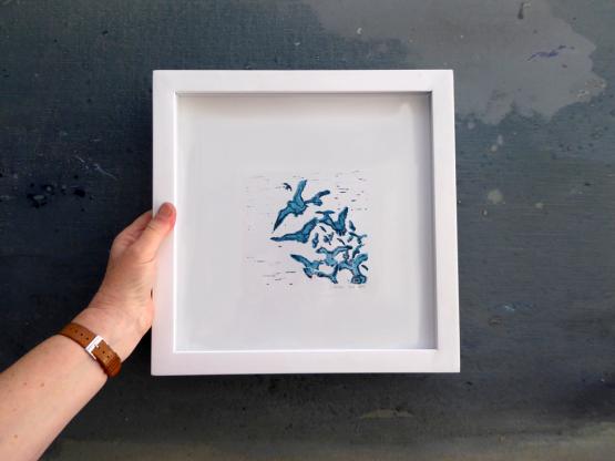 Linosnede van Zeevogels met lijst - Liselot Roben