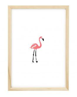 Linosnede van een Flamingo met lijst - Liselot Roben