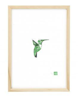 Linosnede van een Kolibri met lijst - Liselot Roben