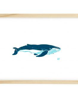 Linosnede van een Walvis met lijst - Liselot Roben