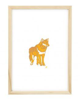 Linosnede van een Wolf met lijst - Liselot Roben